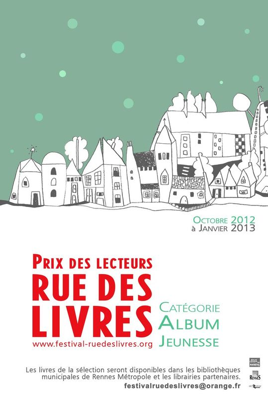 Tous les ans en mars se tient  Rennes le festival Rue des Livres, et cette anne est organis pour la premire fois un Prix des Lecteurs catgorie Albums Jeunesse...